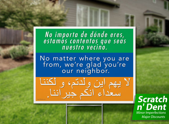 Welcome Your Neighbors Yard Sign - Scratch n' Dent