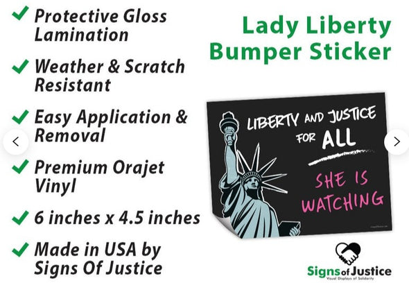 Lady Liberty Bumper Sticker - Free Shipping!