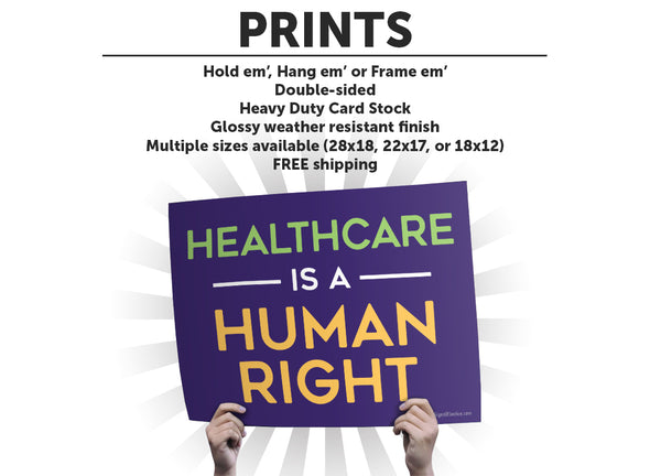 Healthcare Is A Human Right Protest Sign or Poster