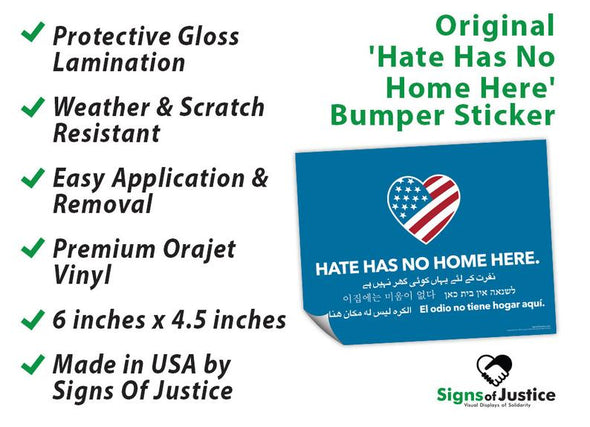 Hate Has No Home Here Bumper Stickers