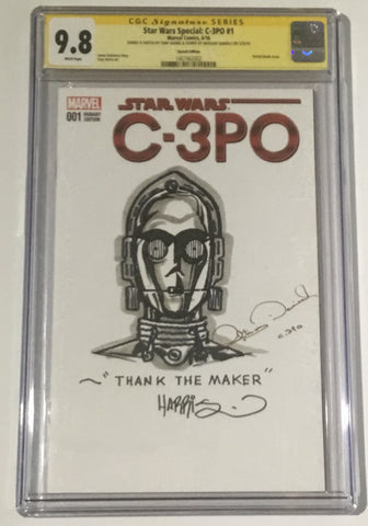 Star Wars Sketch Cover by Tony Harris , Signed Anthony Daniels CGC 9.8 - Vaulted Collection LLC