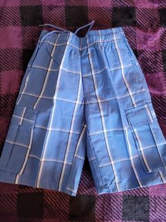 Kids Plaid Shorts- Sky Blue