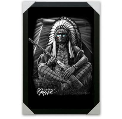 Large Framed Canvas Art- Native