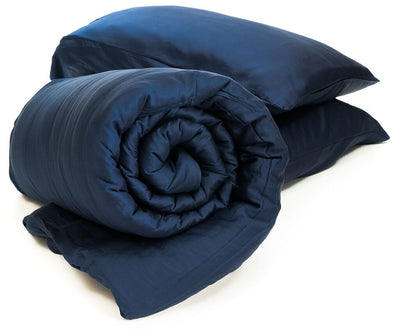 TruHugs Weighted Blanket - TruHugs ONE Navy/Blue Sustainable Bamboo 100% Biodegradable Eco-Friendly Weighted Blanket along with 2 free bonus color matched pillowcases.