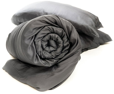 TruHugs Weighted Blanket - TruHugs ONE Grey/Gray Sustainable Eco-Friendly 100% Biodegradable Bamboo Weighted Blanket along with 2 free bonus color matched pillowcases.