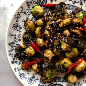 Crispy Brussels with Plum Vinaigrette