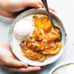 Smoked Peach Cobbler with Bourbon Sauce