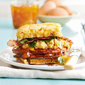 Sweet Potato Biscuit Sandwiches with Ham + Redeye Gravy
