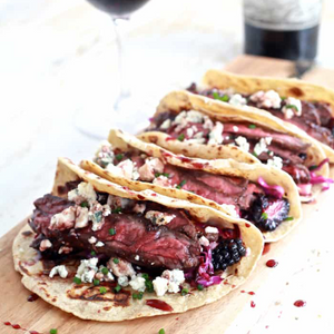 Skirt Steak Tacos with Blackberry Pear Slaw