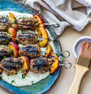 Turkey Kofta Kebabs with Grilled Peaches