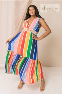 Covered in Stripes Maxi Dress