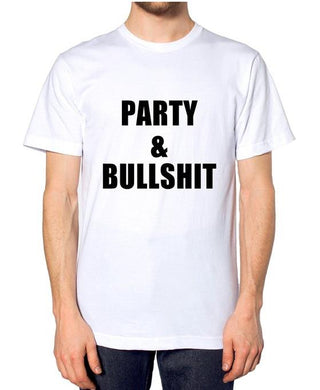 Party And Bullshit Letters Print Men T shirt Casual Funny Shirt For Man Top Tee Funny Hipster Rock Band White BZ203-34