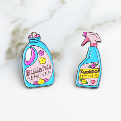 Bullshit remover,F**i repellent Detergent Spray Brooch Cartoon Daily supplies Pins Buckle Badge Enamel Lapel pin Jewelry Kids