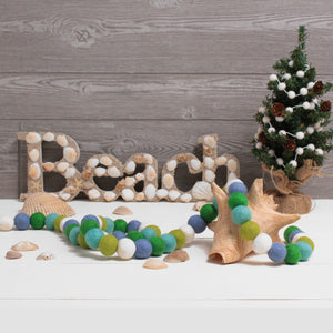 Coastal Christmas Felt Ball Garland