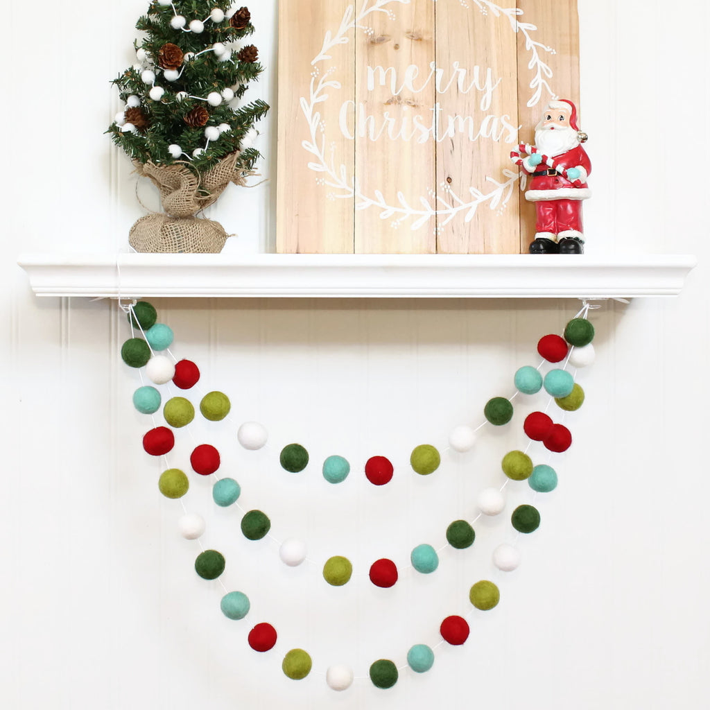 Retro Christmas Felt Ball Garland, Pom Pom Garland, Nursery Decor