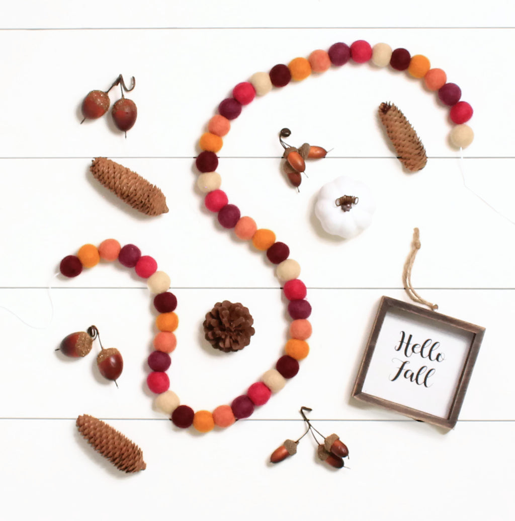 Fall Harvest Felt Ball Garland, Fall Pom Pom Garland, Thanksgiving Decor