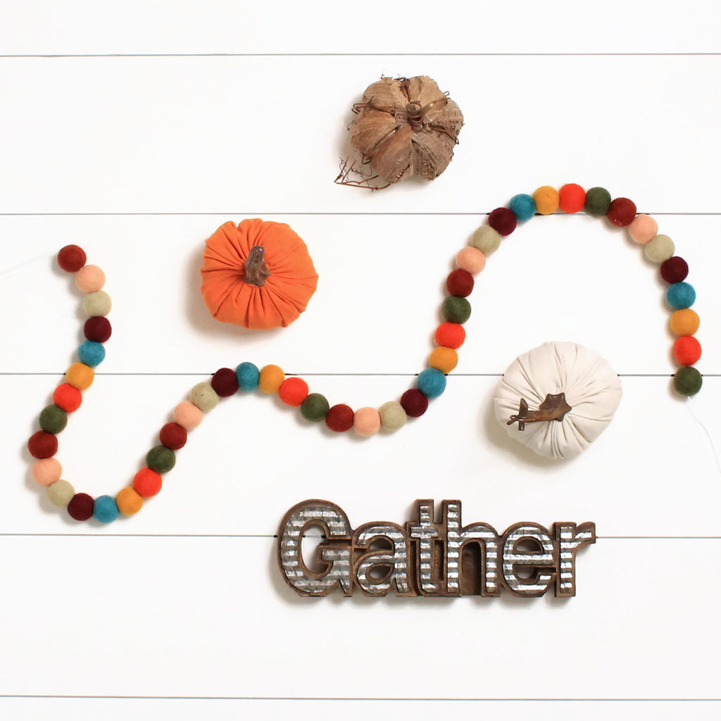 Fall Thanksgiving Felt Ball Garland, Fall Pom Pom Garland, Thanksgiving Decor
