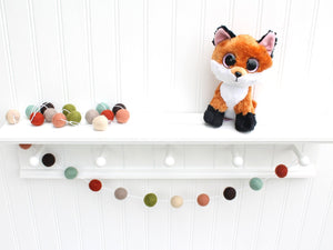Woodsy Felt Ball Garland, Pom Pom Garland, Red Green and Brown