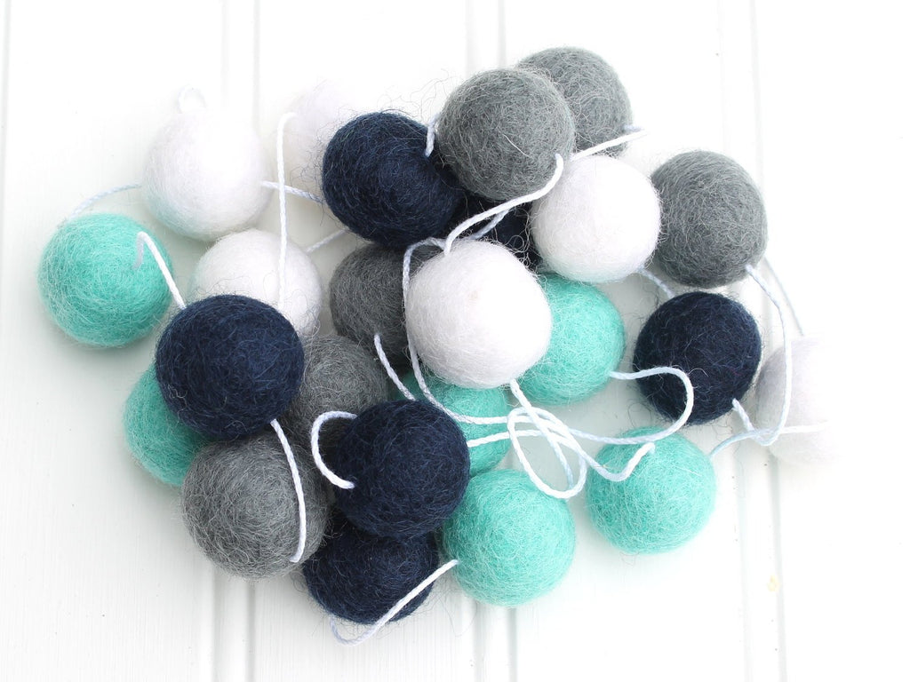 Navy and Turquoise  Felt Ball Garland, Pom Pom Garland, Nursery Decor