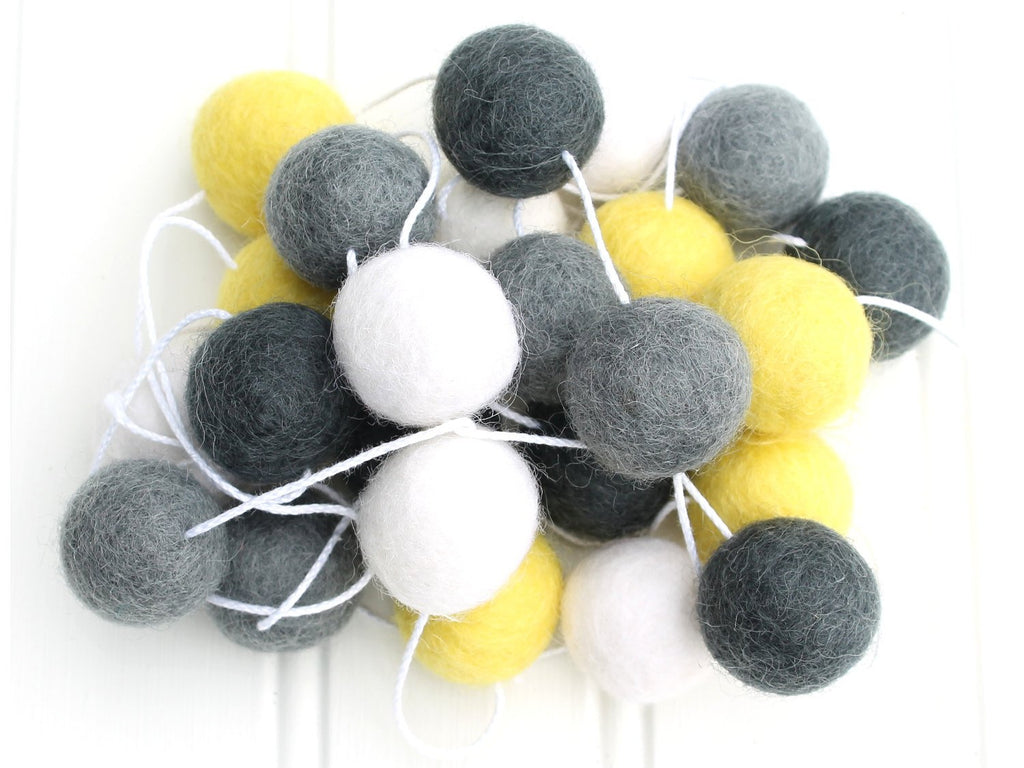 Gender Neutral Pom Pom Garland, Felt Ball Garland, Yellow White and Grey