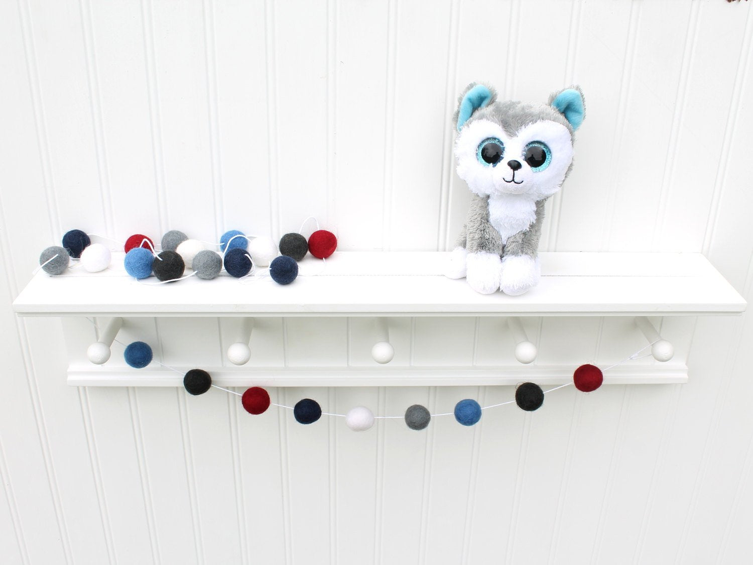4th of July Felt Ball Garland, Pom Pom Garland, Red White and Blue