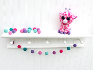 Felt Ball Garland For Girls Room, Pom Pom Garland, Nursery Decor