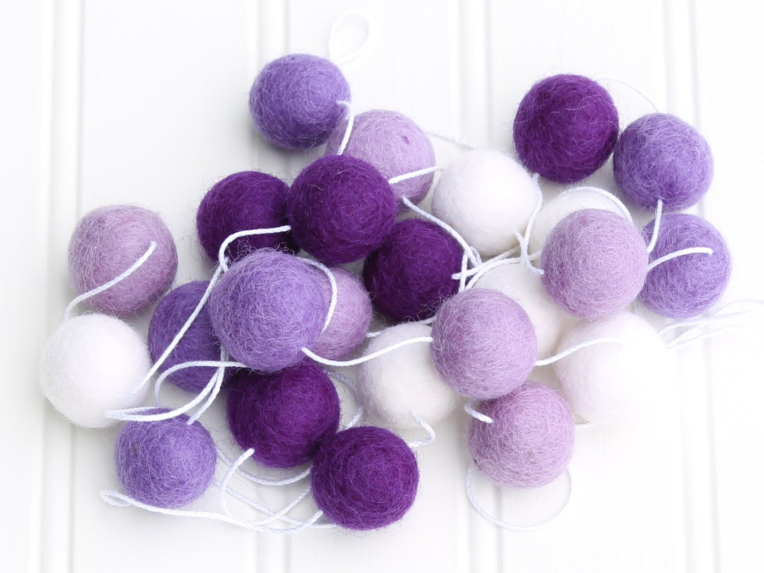 Felt Ball Garland, Pom Pom Garland, Purple
