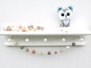 Felt Ball Garland with Metallic Gold, Pom Pom Garland, Gender Neutral