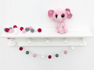 Valentine's Day FELT BALL GARLAND, Red White and Pink Garland, Pom Pom Garland