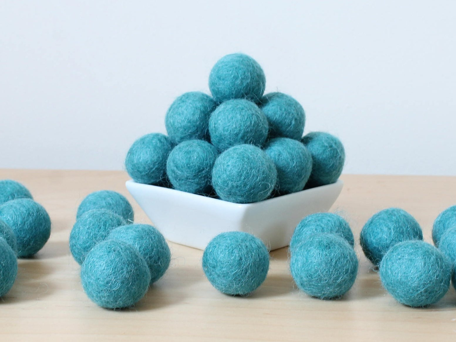 Felt Balls: TEAL, Felted Balls, DIY Garland Kit