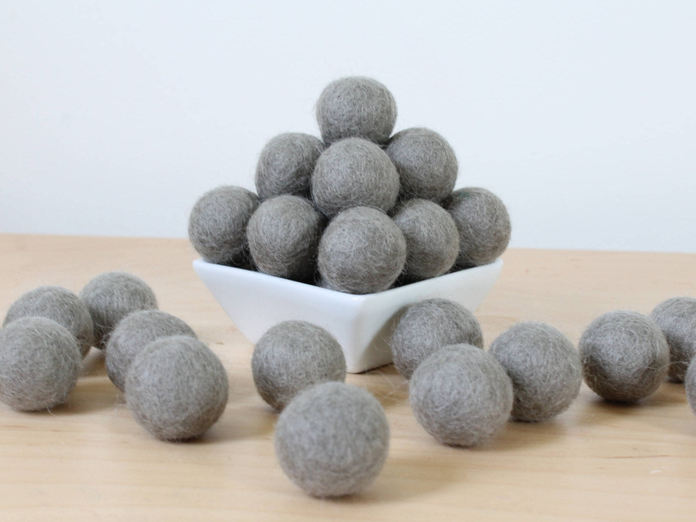 Felt Balls: LIGHTER GRAY, Felted Balls, DIY Garland Kit