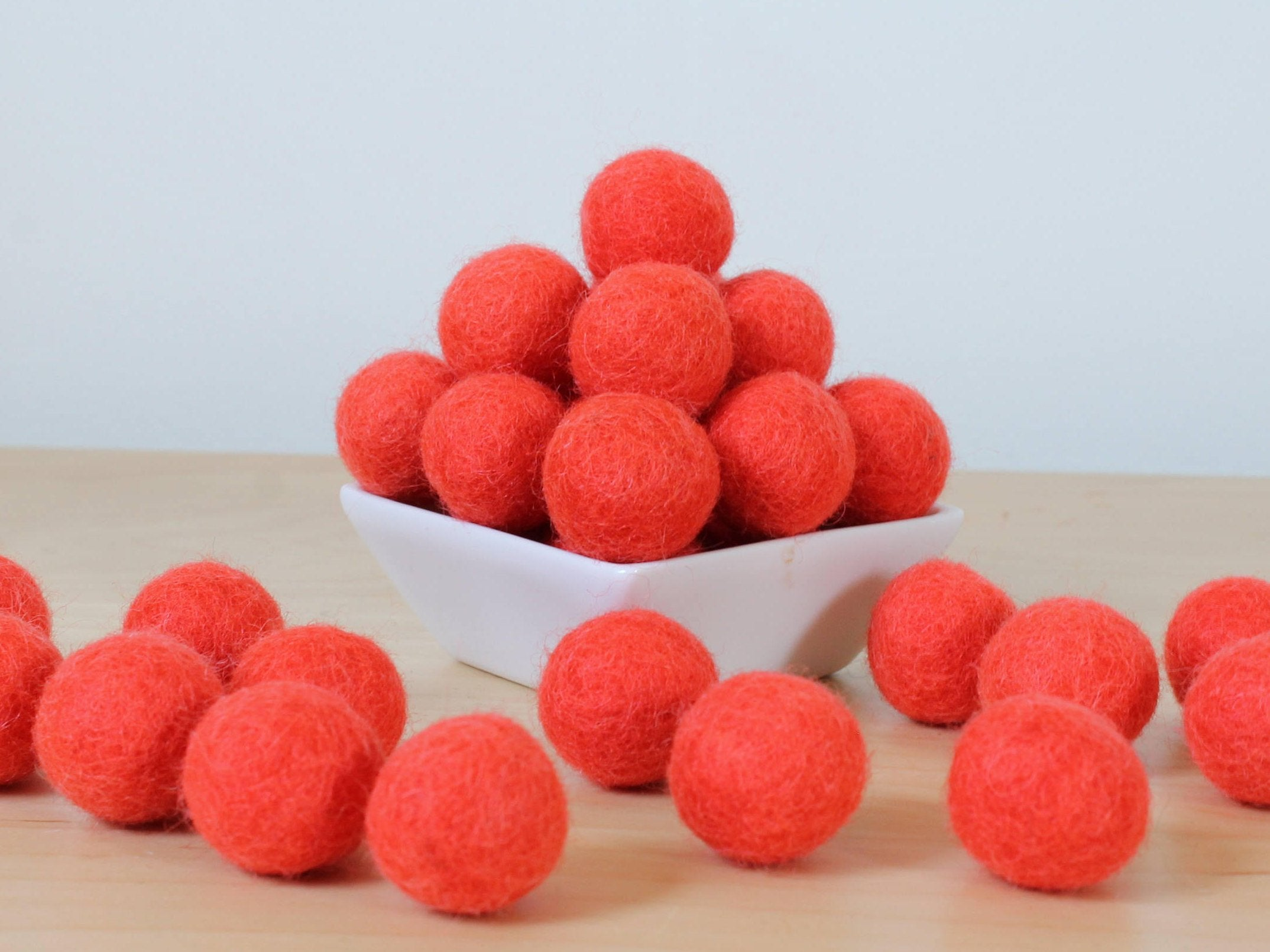 Felt Balls: BRIGHT CORAL, Felted Balls, Garland Kit
