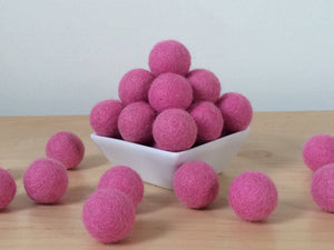 Felt Balls: ROSE PINK, Felted Balls, DIY Garland Kit