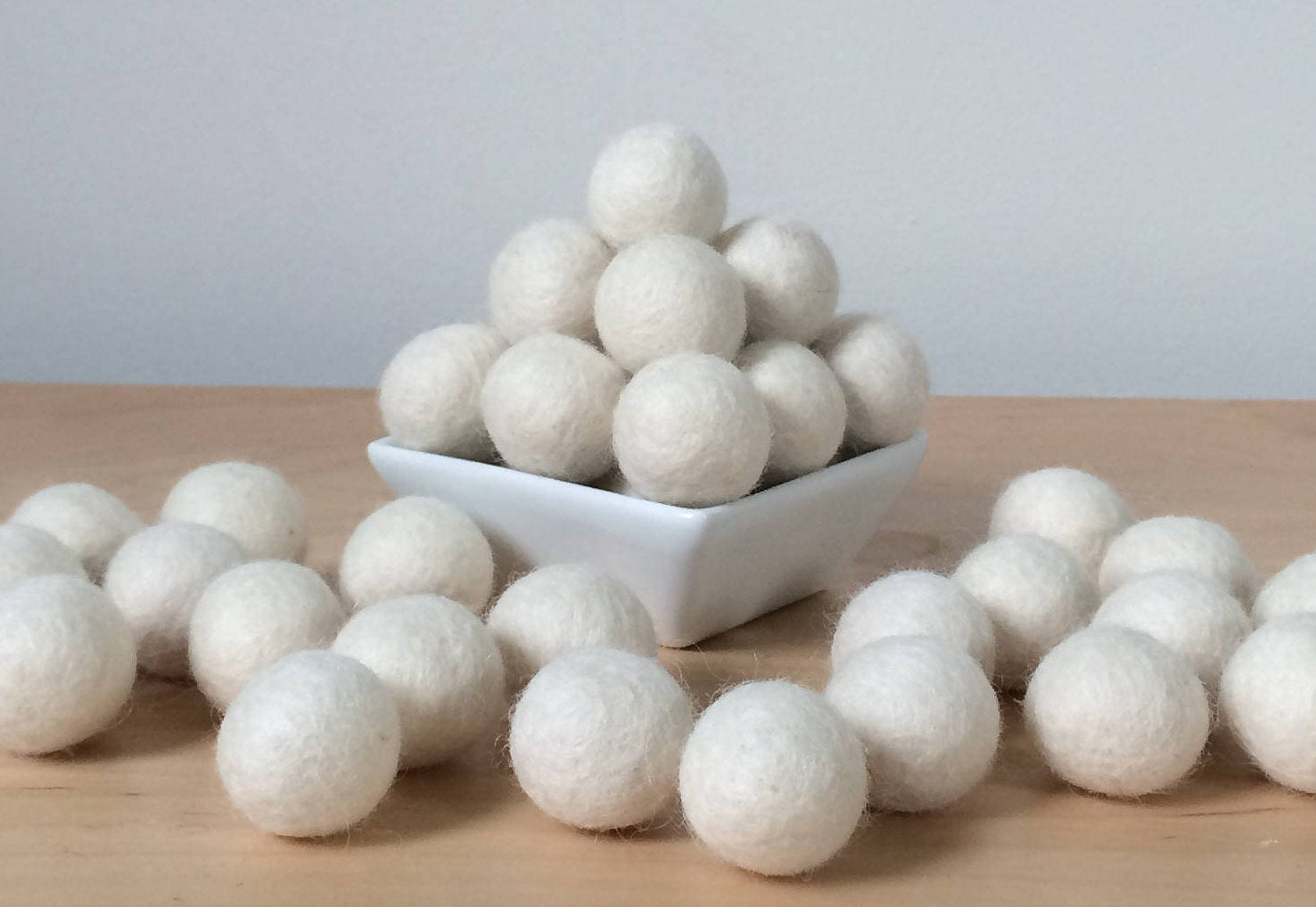 Felt Balls: CREAM, Felted Balls, DIY Garland Kit