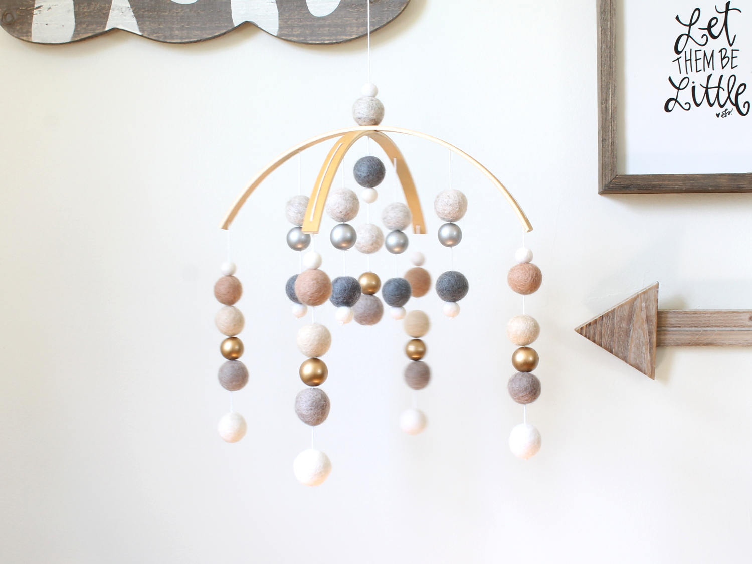 Silver and Gold Felt Ball Mobile, Baby Mobile, Crib Mobile