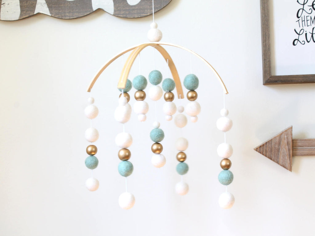 MINT / WHITE / GOLD Felt Ball Mobile, Baby Mobile, Crib Mobile