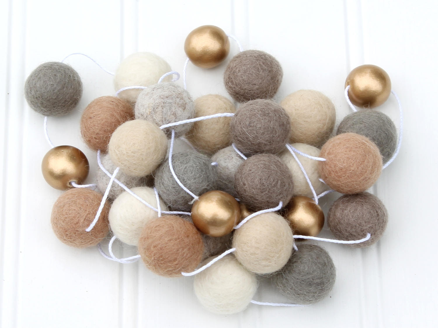 Custom Metallic Gold or Silver Felt Ball Garland, Pom Pom Garland, Nursery Decor