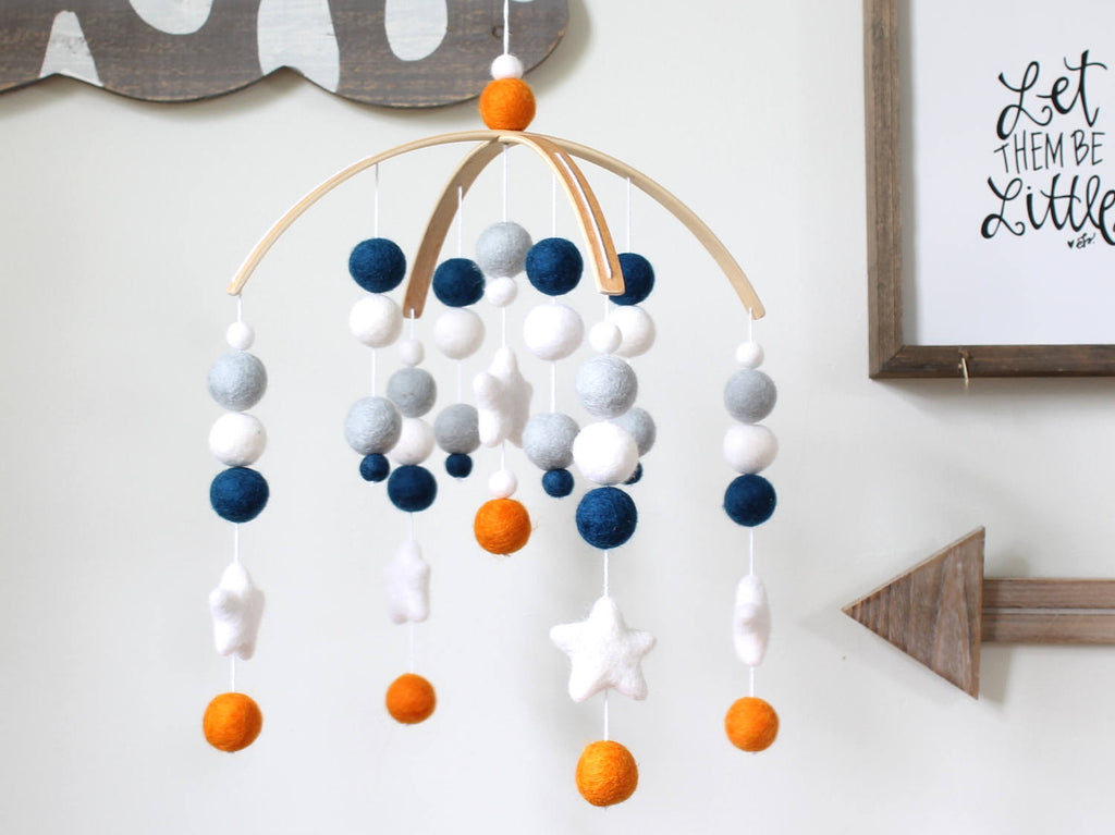 Blue & Orange Star Mobile, Felt Ball Mobile, Baby Mobile