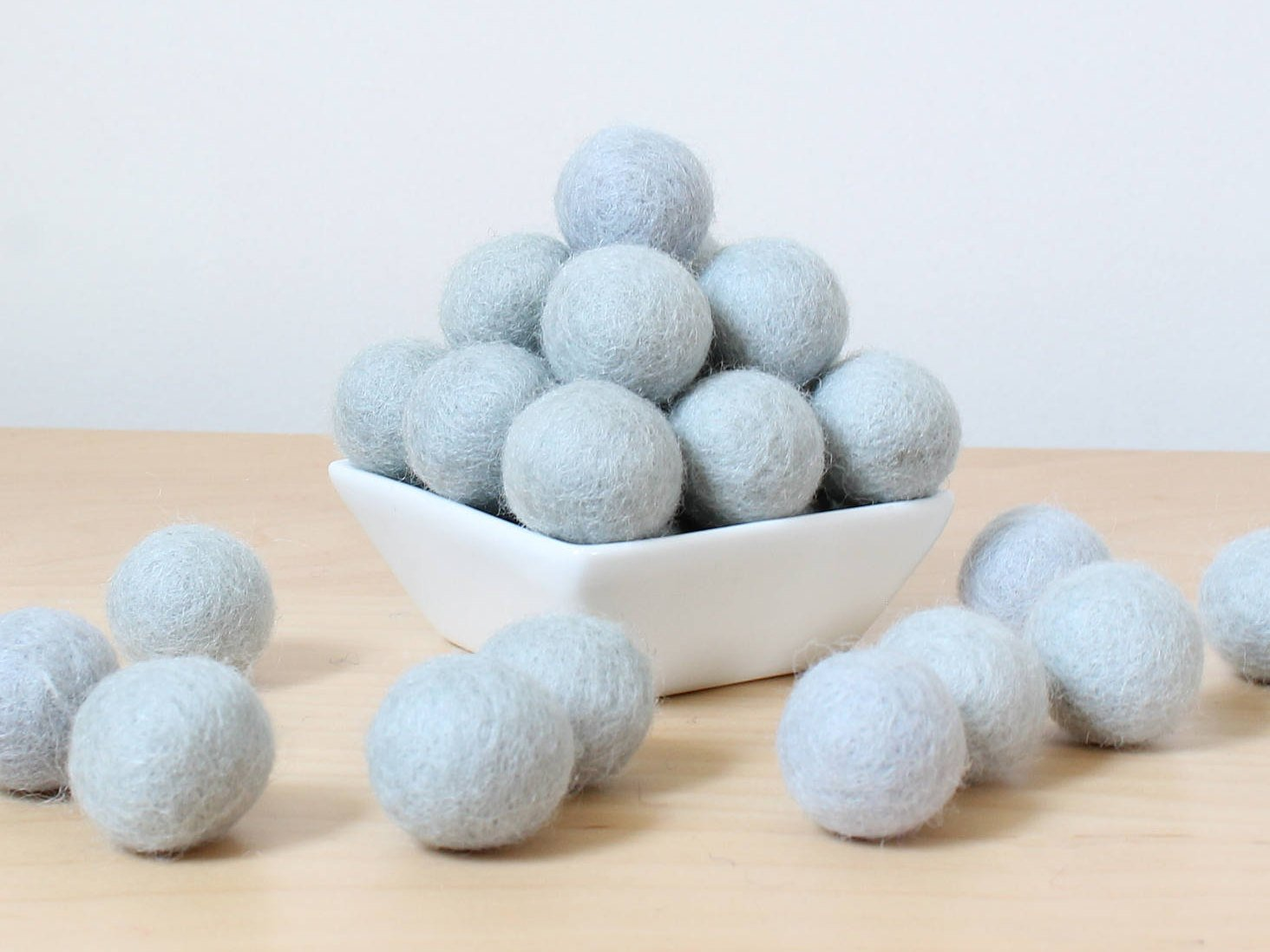 Felt Balls: LIGHT BLUE/GRAY, Felted Balls, diy Garland Kit