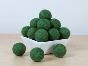 Felt Balls: FOREST GREEN, Felted Balls, DIY Garland Kit