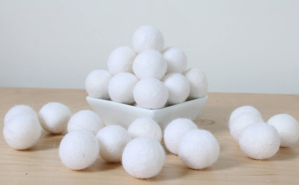 Felt Balls: WHITE, Felted Balls, DIY Garland Kit