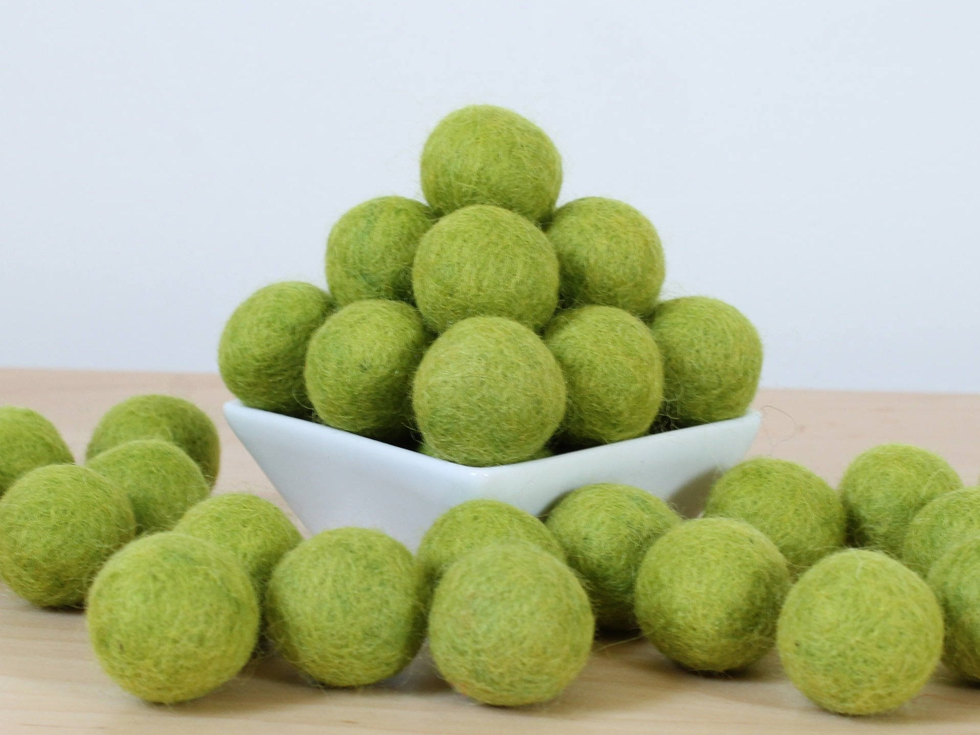 Felt Balls: CITRUS GREEN, Felted Balls, DIY Garland Kit