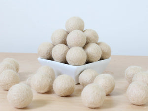 Felt Balls: ALMOND, Felted Balls, DIY Garland Kit