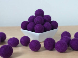 Felt Balls: PURPLE, Felted Balls, DIY Garland Kit