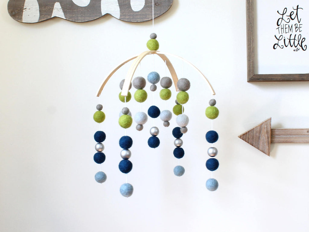 BLUE & GREEN Felt Ball Mobile, Baby Mobile, Crib Mobile