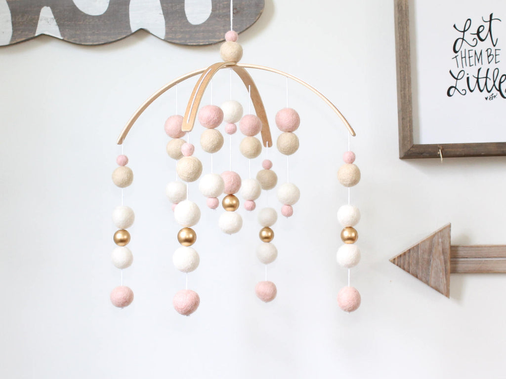 BLUSH / WHITE / GOLD Felt Ball Mobile, Baby Mobile, Crib Mobile