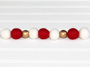 Felt Ball Garland with Gold Beads, Pom Pom Garland, Christmas Party Decor