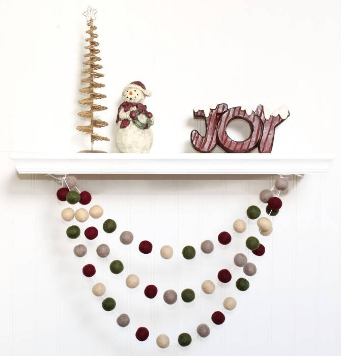 Felt Ball Garland Christmas, Christmas Pom Pom Garland, Holiday Decor