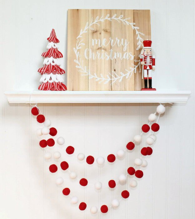 Candy Cane: Red and White Felt Ball Garland, Pom Pom Garland, Nursery Decor
