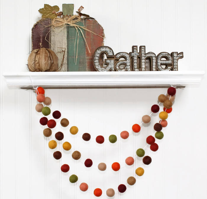 Autumn Felt Ball Garland, Fall Pom Pom Garland, Thanksgiving Decor